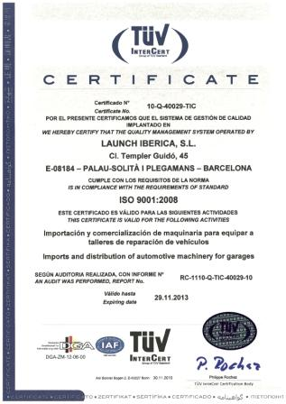 certificado iso9001:2008 launch iberica