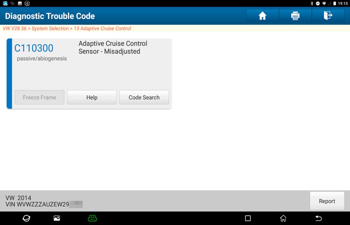 Instrucciones calibración de radar de control de crucero adaptativo (ACC) del VW Golf
